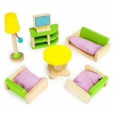 Imagination Generation Luxurious Living Room Colorful Wood Dollhouse Furniture