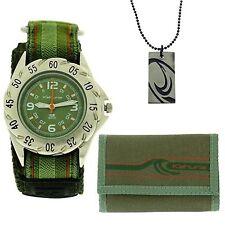 Kahuna Green Easy Fasten Watch, Wallet & Beads Necklace Boys Gift Set AKKS-002M