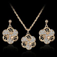 Chic Womens 18K Gold Tone Flower Crystal Necklace Earrings Wedding Jewellery Set