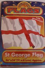 "ST. GEORGE FLAG. 36"" x 24"" with grommets. Carboot, Football, Party, Celebration,"