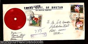 BHUTAN 10 CH 1977 SCOUT RECORD PHONOGRAPH STAMP POSTAL USED COVER RARE HISTORY