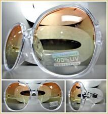 OVERSIZED VINTAGE RETRO Style SUN GLASSES Transparent Frame Orange & Yellow Lens