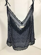 ABERCROMBIE & FITCH LACE TRIMMED SLEEP CAMI NAVY FLORAL LARGE NWT $34