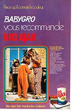 PUBLICITE   1971   BABYGRO   pyjamas enfants & Bio-Ajax