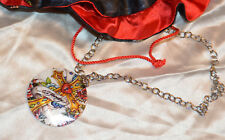 Ed Hardy Signature Painted Round Shell Pendant Necklace Cross Flowers