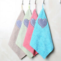 Cute Love Heart Pattern Hanging Soft Hand Towel Dishcloth Kitchen Cleaning Cloth