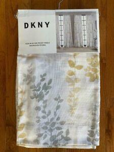 "DKNY Watercolor Petunia 4 Rod Pocket Panels Window Curtains 50"" x 96"" New"