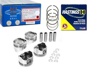 75.5mm YCP Vitara Pistons Low Compression & Hastings Set Honda D16 TURBO