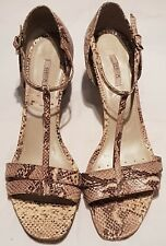 GEOX RESPIRA Snake skin Leather Strappy Sandals - Sz UK 7 with medium block heel