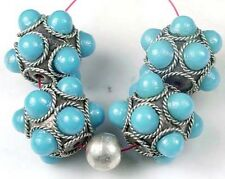 4  Tibetan Silver and Turquoise Blue Glass Focal Beads