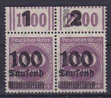 DR Mi Nr. 289 b OPD Ki WOR F 1 / F 2 Paar (*). Infla Ziffer Deutsches Reich 1923