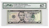2006 $5 PHILADELPHIA FRN, PMG SUPERB GEM UNCIRCULATED 67 EPQ BANKNOTE