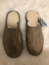 NEW Genuine Australian Ugg Sheepskin Slipper - Lady Size 9- Leather Olive Color