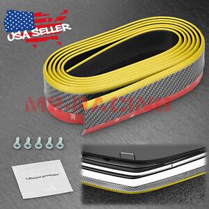 Universal Carbon Fiber Gold/Black Front Rubber Bumper Lip Splitter Chin Spoiler