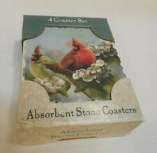 4 Birds Absorbent Stone Coasters   Unopened