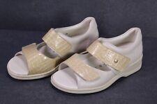 C1372 Goldkrone Damen Sandalen Leder beige Gr. 36 (3,5 M) Wechselfußbett