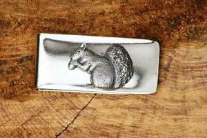Men's Solid 925 Sterling Silver Fantastic Excellent Squirrel Pewter Money Clip