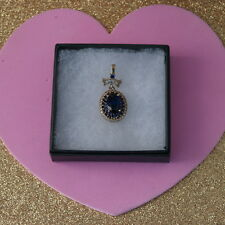 Beautiful Pendant Necklace With Sapphire And Topaz 4.4 Gr.3.5 Cm. Long + Collar