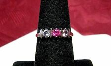 VINTAGE 925 STERLING SILVER ROUND THREE STONE PAVE SETTING RING SIZE 7