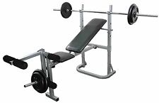 Weight Bench Leg Extension Complete Training Set 6ft Barbell 40kg Cast Plates