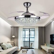 Retractable Blades Remote Control 42�3-Speeds 3-Colors Crystal Ceiling Fan Light