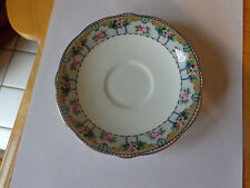 AYNSLEY HAND PAINTED AND SIGNED SAUCER ONLY-FLOWER PRINT, SCALLOPED AND GOLD RIM