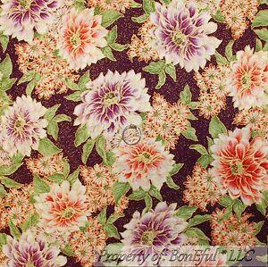 BonEful Fabric Cotton Quilt Purple Gold Metallic Flower Garden LAST SCRAP