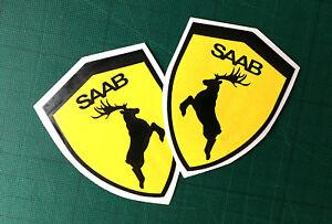 Saab shield deer decal sticker left right exterior animal sticker 2X