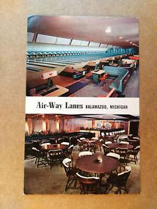 AIR-WAY LANES, KALAMAZOO, MICHIGAN USA Old TEN PIN BOWLING Postcard