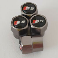 AUDI S5 Gun Metal Grey Wheel Valve Dust caps all models S LINE TT RS more colors