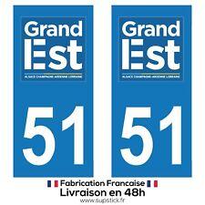 2 STICKERS AUTOCOLLANT PLAQUE IMMATRICULATION DEPT 51 Région Grand Est