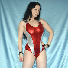 metallic rot-silber LACKBODY* S * Gymnastikanzug* Dessous stretchig glänzend