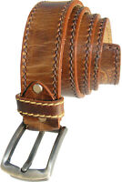 Men's Leather Belt Full Grain Brown 1.5 Inch Stitched Belt with Removable Buckle