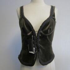 COSTUME NATIONAL brown cotton velvet boho laced bodice corset vest sz 42 / 0 - 1