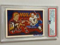1991 UPPER DECK HOCKEY HEROES # 9 BRETT HULL SIGNED #1606/2500 PSA 9 AUTO PSA 10