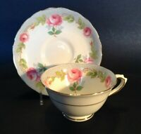 Tuscan Pedestal Cup And Saucer - Blue Borders - Pink Roses - Bone China England