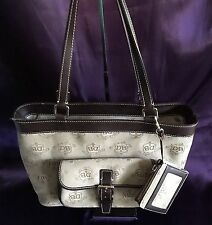Dooney & Bourke Signature Logo Brown Tan Beige Tote Handbag Purse w/ID Wallet LN