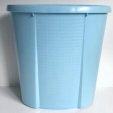 "Blue Waste Basket Trash Can 14"" Vtg Mid Century Rubbermaid Plastic"