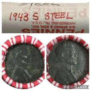 Roll of 50 Circulated 1943 Steel Pennies S Mint Mark Ends WWII Wartime Cents