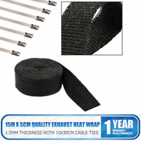 15M TITANIUM HEAT WRAP EXHAUST MANIFOLD BLACK INSULATING TAPE WITH 10 CABLE TIES