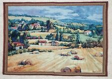 "Woven tapestry ""French Farmland"" farmhouse hay landscape jacquard Erin Dertner"