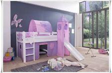 Spielbett Kinderbett Hochbett mit Rutsche + Vorhang + Turm + Matratze Weiss CIN
