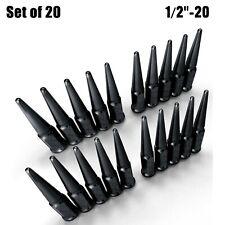 "Set of 20 Long Spike Lug Nuts 1/2"" - 20 RHT Taper Acorn Seat Black Finish 5BK4"