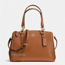 New Coach F36704 Mini Christie Carryall In Crossgrain Leather Saddle Brown NWT