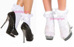 💟RUFFLE ANKLE SOCKS Lace SATIN BOWS School Girl Costume DANCEWEAR