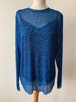 Sosandar Cobalt Blue Print Mesh Top Size 16