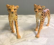 AAA Pair Of Cheetah Cubs Wild Animal Toy Model Figurine Replica Vintage