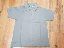 New Womens Plain Grey Polo Shirt T Shirt Short Sleeve XS