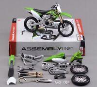 1/12 Assemble Kawasaki KX 450F Model Green DIY Motorcycle Bike Toys Maisto