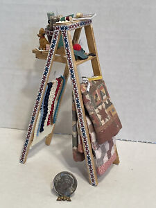 Vintage Artisan Quilters Filled Ladder Sewing Room Dollhouse Miniature 1:12